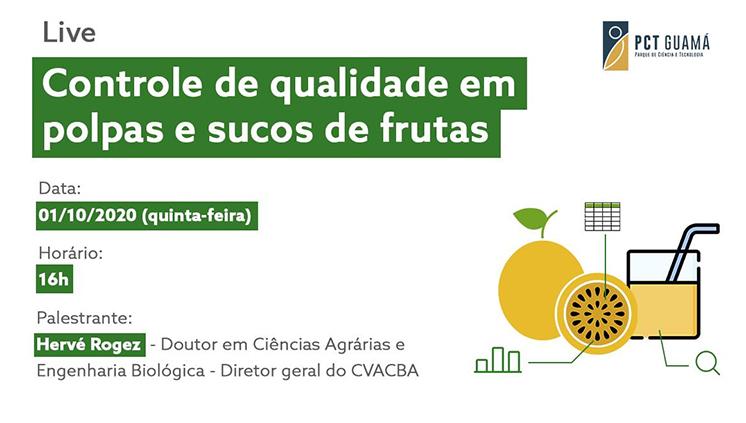 Controle de qualidade de polpas e sucos de frutas é tema de webinário promovido pelo PCT Guamá